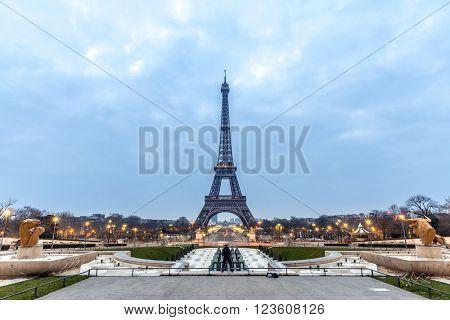 Eiffel Tower Sunrise twilight, Paris France