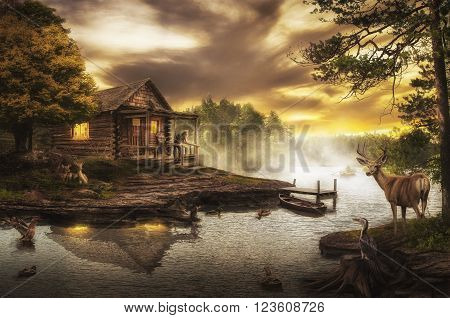 old wooden house by the stream on a summer evening