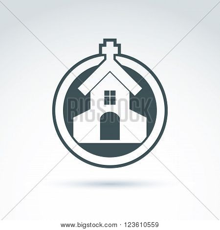 Christian church with cross. Vector illustration of temple placed in a circle religion concept.