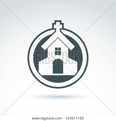Christian church with cross. Vector illustration of aemple placed in circle