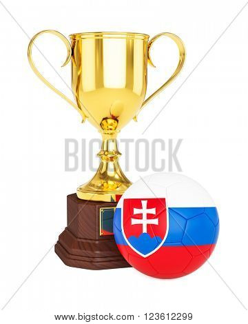 3d rendering of gold trophy cup and soccer football ball with Slovakia flag isolated on white background