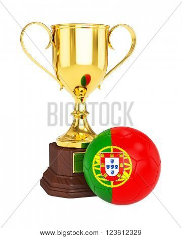 3d rendering of gold trophy cup and soccer football ball with Portugal flag isolated on white background