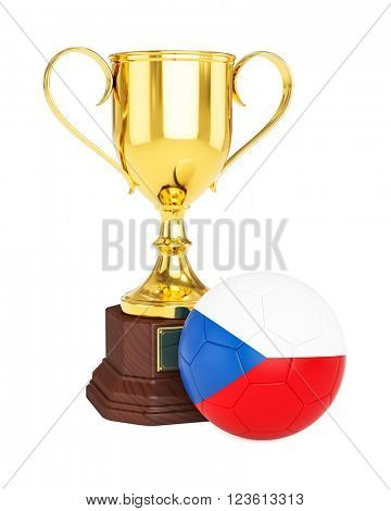 3d rendering of gold trophy cup and soccer football ball with Czech Republic flag isolated on white background