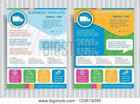 Truck Icon On Vector Brochure Flyer Design Layout Template