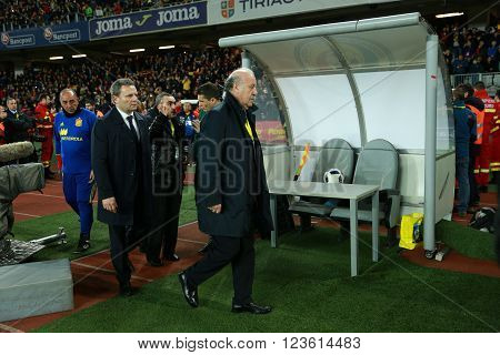 CLUJ-NAPOCA, ROMANIA - MARCH 27, 2016: The coach of the National Football Team of Spain, Mr. Vicente del Bosque arriving in the pitch at the beginning of the match against Romania