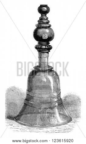 In Collection, Demmin, Drinking glass, vintage engraved illustration. Magasin Pittoresque 1878.