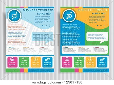 Male And Female Symbol On Vector Brochure Flyer Design Layout Template