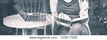 Woman Reading Studying Cafe Restaurant Relaxation Concept