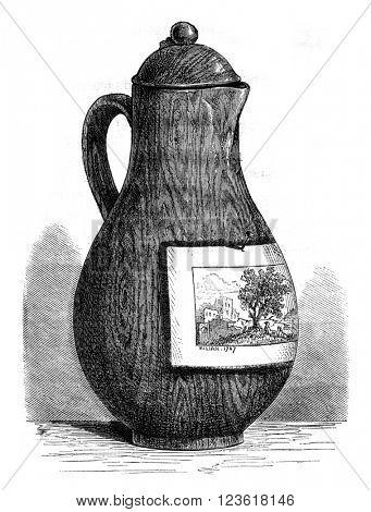 Vase of Niderviller, vintage engraved illustration. Magasin Pittoresque 1876.