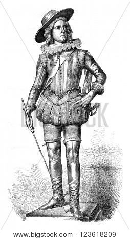 Statue of Louis XIII by Rude, vintage engraved illustration. Magasin Pittoresque 1876.