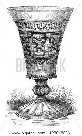 Museum of Chartres, Glass said Charlemagne, vintage engraved illustration. Magasin Pittoresque 1876.