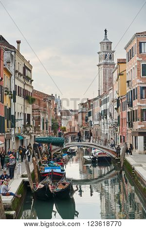 Venice Italy - Febuary 19 2016: landscape of Venice a city in northeastern italy. It is famous for its settings and heritages. A part of Venice is resignated as a World Heritage site.