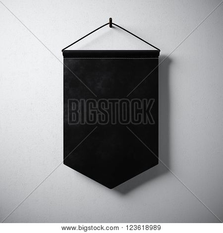 Empty black pennant hanging concrete wall. Ready for your business information. High detailed texture material. Soft shadows. Abstract background. 3D rendering
