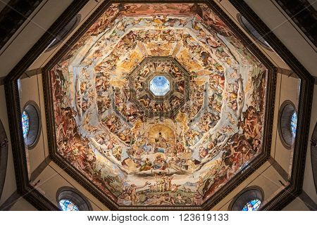 Florence Italy - Febuary 17 2016: The Last Judgement under the dome of Cattedrale di Santa Maria del Fiore. painted by Giorgio Vasari and Federico Zuccari between 1568 and 1579.
