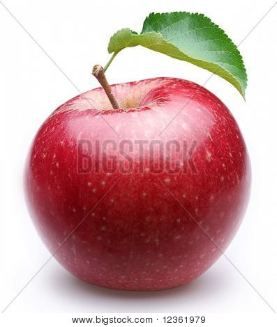 Ripe red apple with a leaf. Isolated on a white background.