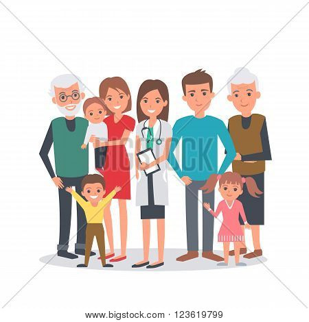 Family doctor vector illustration. Big family with doctor. Family portrait isolated on white background.