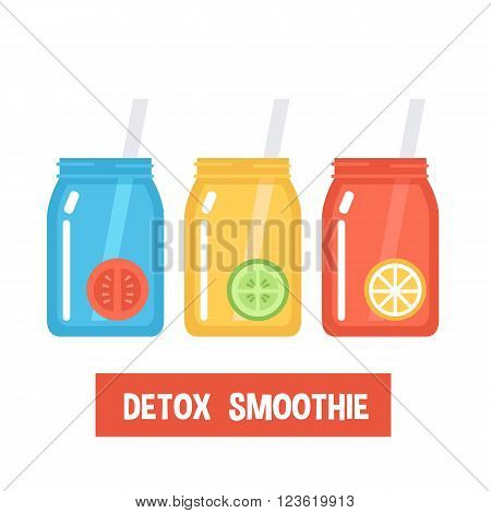 Smoothies for detox diet. Vector Flat smoothies icons isolated on white background. Colorfull jars with tomato smoothie lemon smoothie cucumber smoothie.