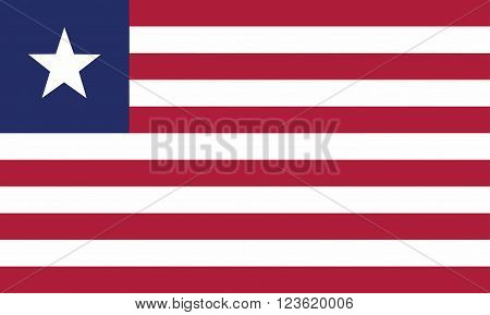 A flag of Liberia on white background