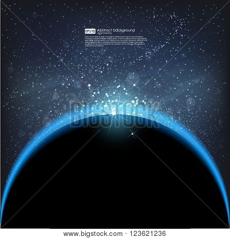 Abstract vector background. Eclipse sun in galaxy, cosmos. Star night vector illustration