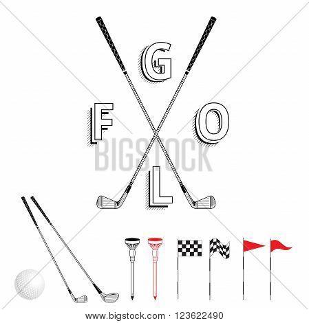 Golf graphic logo. Golf icon set. Vector Set Golf Equipment Icons. Golf collection include: grass bush flag holeball tee stick club