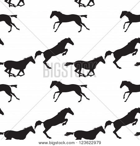 Running and jumping herd of horses. Vector seamless pattern with horses. Black horse seamless pattern on isolated background. Background with Equine sports theme
