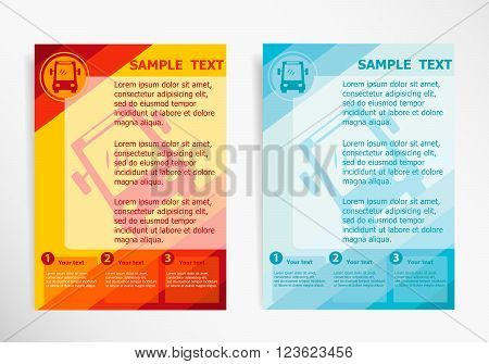 Bus Icon On Abstract Vector Modern Flyer
