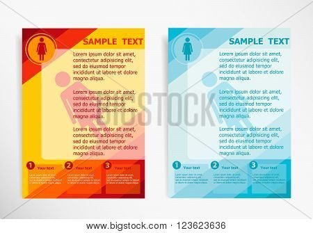 Woman Icon On Abstract Vector Modern Flyer