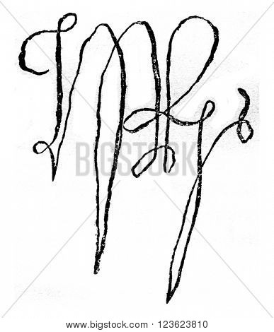 Facsimile of the signature of Henry VII of England, crown 30 October 1485 on the Bosworth-Field battlefield death in 1509, vintage engraved illustration. Magasin Pittoresque 1870.