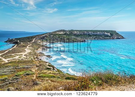 San Marco cape on a clear summer day Sardinia