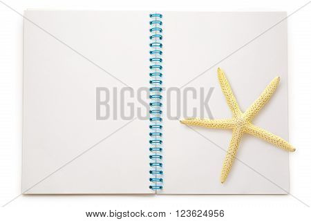 Blank Open Notepad With Sea Star