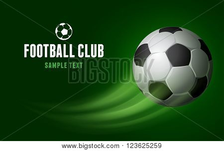Card for Football Club with Flying Soccer Ball on Green Background. Realistic Vector Illustration.