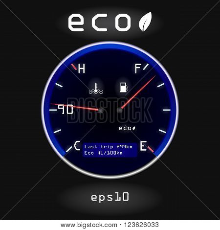 Abstract Car Fuel And Temperature Gauge On Black Background