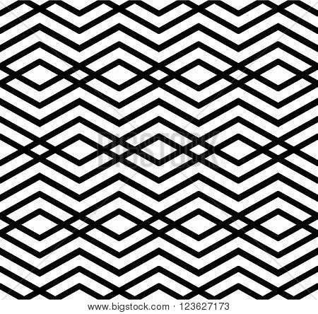 Modern zigzag contrast geometric seamless pattern. Rhombus graphic contemporary splicing. Imposing black and white infinite backdrop with symmetric ornament.