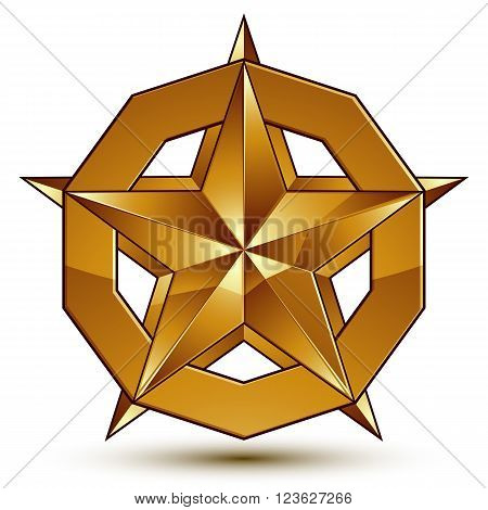 Wonderful vector template with golden star symbol best for use in web and graphic design. Heraldic icon