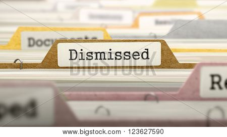 Dismissed - Folder Register Name in Directory. Colored, Blurred Image. Closeup View. 3D Render.