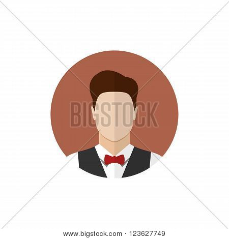 Waiter icon isolated on a white background. Butler icon. Flat style vector illustration poster