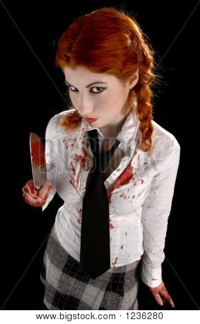 angry schoolgirl with bloody knife over black poster