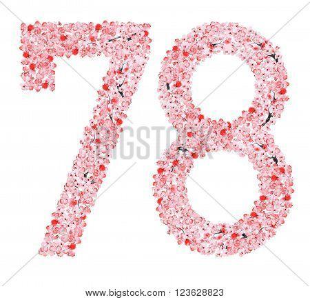 Watercolor hand drawn Sakura Flower Alphabet. Monogram the number seven and eight  Made of Sakura Flowers