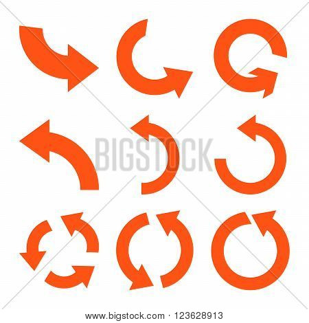Rotate Counterclockwise vector icon set. Collection style is orange flat symbols on a white background.