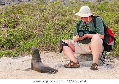 North Seymour, Ecuador - April 19: Unidentified Man Sits Near Baby Galapagos Sea Lion On April 19, 2