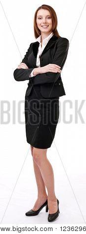 Retrato de mujer de negocios joven seguro. Aislado sobre un fondo blanco.