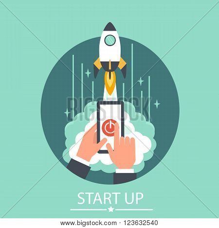 Business start up business concept illustration. Vector concept for business project start up. Launching new project.