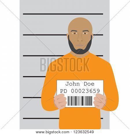 vector illustration of mugshot of arrested man