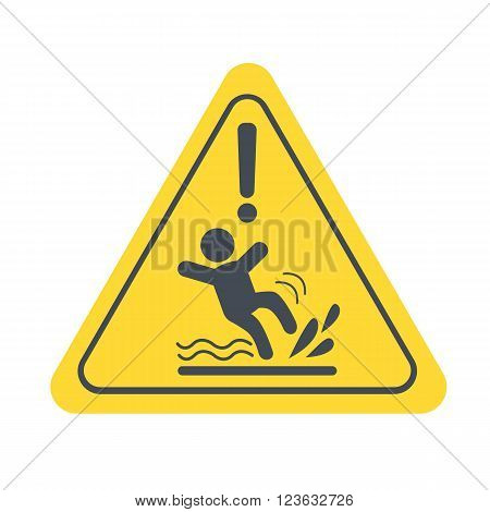 Wet Floor warning sign. Vector yellow triangle with falling man. Vector sign isolated on white background.