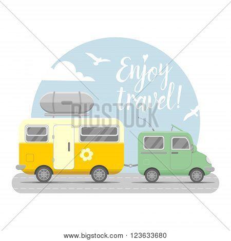 Vector caravan trailer end car landscape. Mobil home vector illustration. Traveler truck flat vector icon.  Family traveler truck summer trip concept. Logo or emblem concept. Enjoy travel