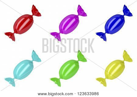 Set of wrapped hard candies with different colors isolated on white background, 3D Illustration