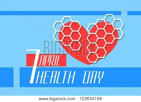 Red Heart Shape World Health Day Flat Vector Illustration