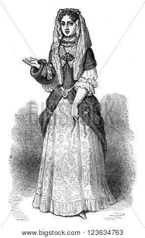 Madame d'Aulnoy, author of Tales, after an engraving of the seventeenth century, vintage engraved illustration. Magasin Pittoresque 1870.