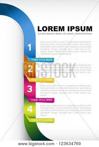 Infographic four colored steps template background