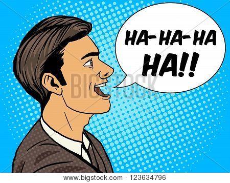 Laughing man pop art style vector illustration. Human illustration. Comic book style imitation. Vintage retro style. Conceptual illustration